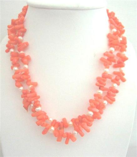 Angle Skin Coral Tube Beeads w/ Freshwater Pearl Double Stranded Neckl