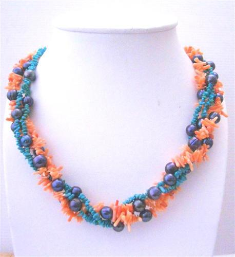 Primary image for Angel Skin Coral Beads Turquoiose & Potato Freshwater Pearl Necklace