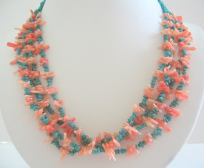 Turquoise & Angel Skin Bamboo Coral Necklace Sterling Silver Jewelry