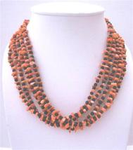 Onyx Bead Coral Skin Nugget Beaded Necklace Multi 5 Strands Necklace - $30.93