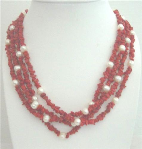 Primary image for Angel Skin Coral Stone Nugget w/ Freshwater Pearls 4 Stranded Necklace
