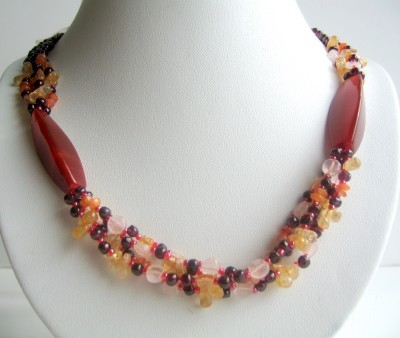 Garnet Beads Necklace w/ Multi Gemstone Besads 4 Strands Necklace