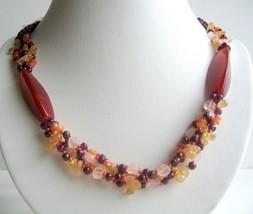 Garnet Beads Necklace w/ Multi Gemstone Besads 4 Strands Necklace - $25.73