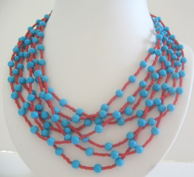 Primary image for Multi Strands Long Turquoise Coral Multi Strands Turquoise Necklace