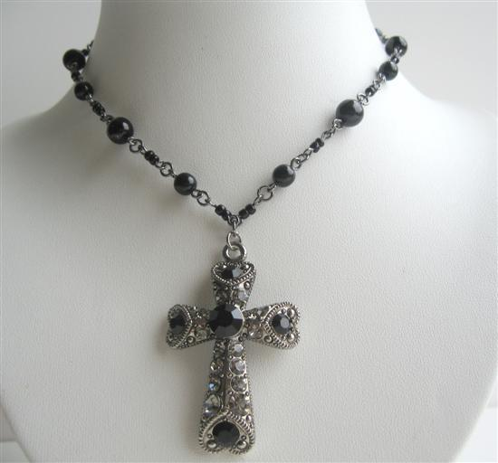 Black Culture Pearl Jet & Black Diamond Crystal Cross Pendant Necklace
