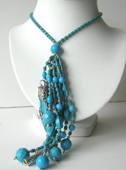 Primary image for Multi Strand Turquoise Dagger & Beads Sterling Silver Necklace