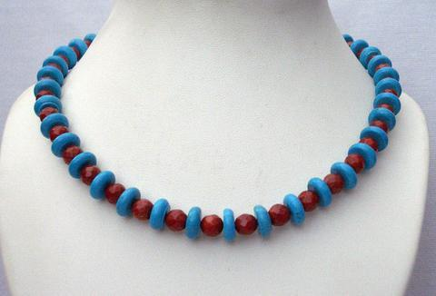 Primary image for Turquoise Coral Red Necklace Turquoise Faceted coral Red Beads Jewelry