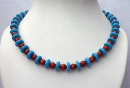 Turquoise Coral Red Necklace Turquoise Faceted coral Red Beads Jewelry - $28.98
