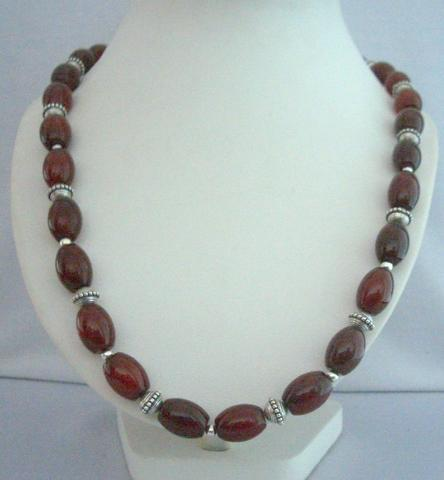 Carnelian Ovals Stone Beads Handcrafted Bali Silver 30 Inches Necklace