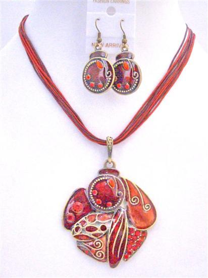 Red Enamel Ethnic Painted Pendant Earrings w/ Multi Stranded Necklace