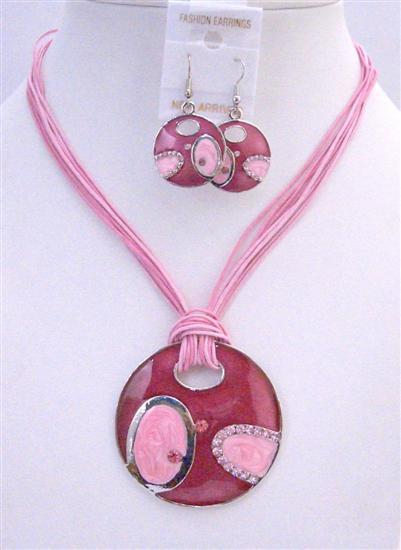 Vintage Jewelry Pink Round Pendant Earrings Multi Stranded Necklace
