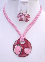Vintage Jewelry Pink Round Pendant Earrings Multi Stranded Necklace - $17.93