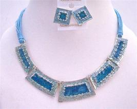 Gorgeous Enameled Ethnic Blue Rectangular Beads Necklace Set - $21.18