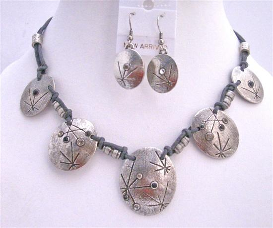 Primary image for Victorian Choker Silver Metal Bead Jewelry Set Accented Polyster Chord