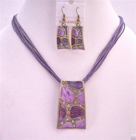 Primary image for Beautiful Purple Enameled Self Designed Necklace Set Dainty w/ Rhinest