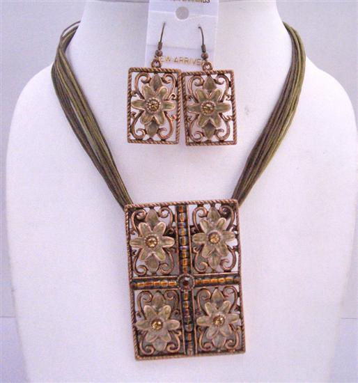 Rectangle Brown Enamel Flower Pendant Multi Stranded Stranded Necklace