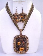Brown Enamel Necklace Copper Pendant Square shaped Pendant Jewelry Set - $20.55
