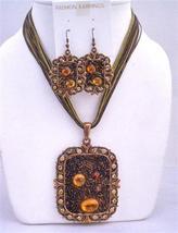 Brown Enamel Necklace Copper Pendant Square shaped Pendant Jewelry Set - $20.55