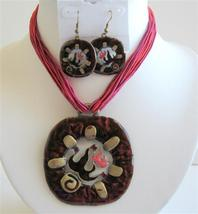 Gorgeous Traditional Red Enamel Necklace Set - $20.55