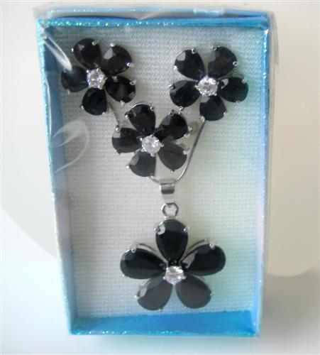 Simulated Onyx Stone Flower Necklace Earrings Set & w/ Ring