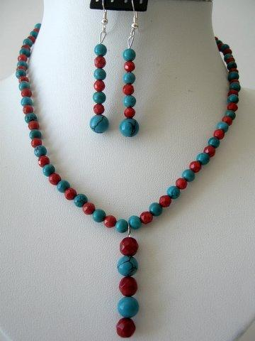 Turquoise & Coral Beads Handcrafted Necklace Set Y Dangling Earrings