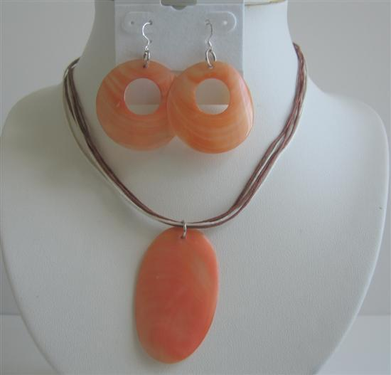 Shell Donut Earrings w/ Oval Shell Pendant Necklace Set Saffron Color