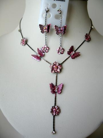 Cute & Delicate Pink Color Enamel Butterfly Y Shaped Necklace Set