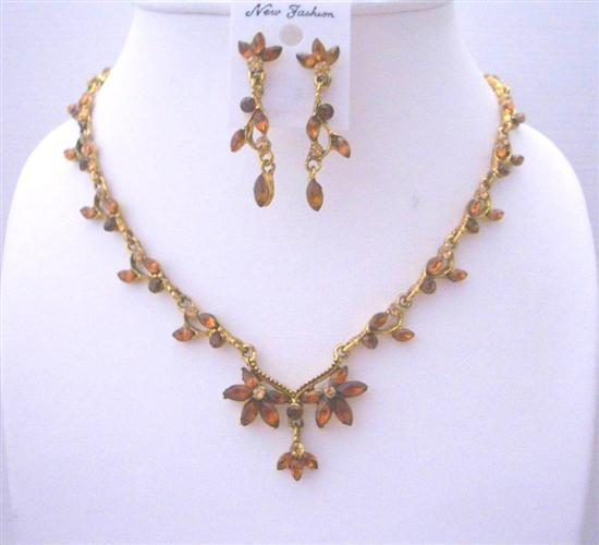 Victorian Necklace Set Vinatge Antique Gold Jewelry Set W/ Smoked topa