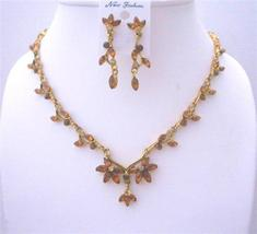 Victorian Necklace Set Vinatge Antique Gold Jewelry Set W/ Smoked topa - $36.78