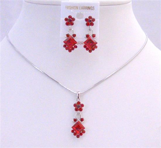 Siam Red Crystals Cute Necklace Set Affordable Bridesmaid Jewelry Set