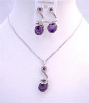 Bridal Bridesmaid Wedding Jewelry Amethyst Teardrop Crystals Necklace - $23.78