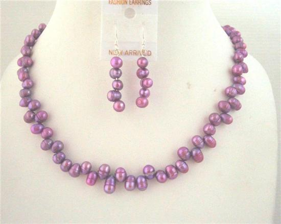 Side Drill Purple Dyed Metallic Freshwater Pearl Necklace Set Custom H