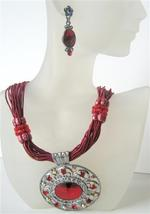 Passion Red Multi Strands Necklace w/ Striking Pendant Crystal & Rhine - $28.98