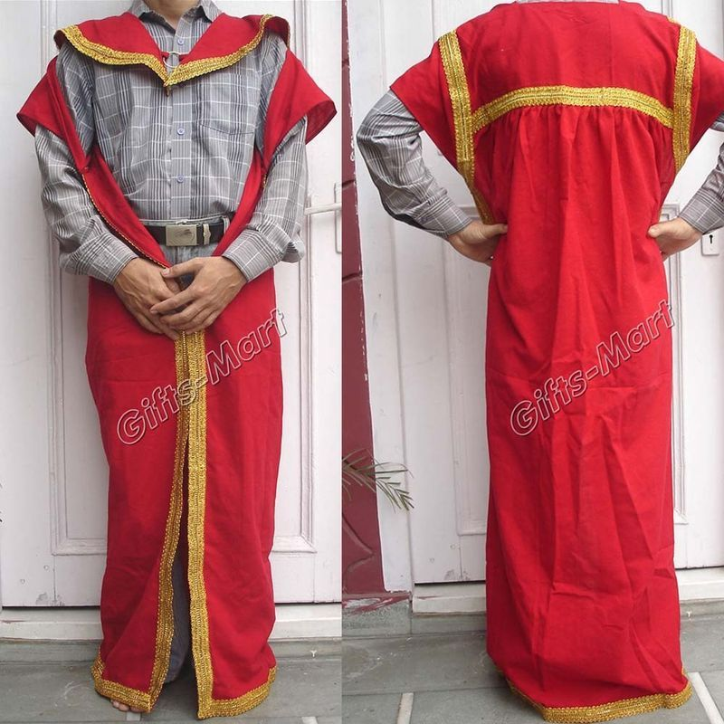 Greek Roman Costume Red Tunic Cape, Medieval Reenactment Dress Fancy Xmas Gift