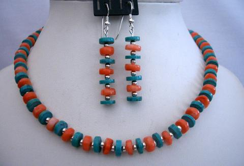 Sterling Silver Genuine Turquoise & Coral Ring Necklace Set Handcrafte