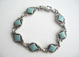Sterling Silver Oxidized w/ Green Turquoise Cut In Diamond Bracelet - $43.95