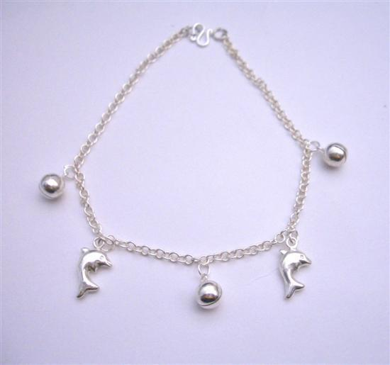 Primary image for Sterling 92.5 Silver Jingle Bell Chain Bracelets w/ Dolphin Dangling