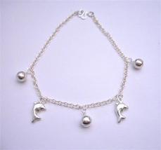 Sterling 92.5 Silver Jingle Bell Chain Bracelets w/ Dolphin Dangling - $19.88