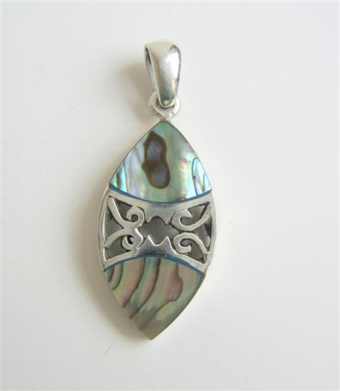 Sterling Silver Pendant w/ Abalone Inlay Silver Designed Sterling 92.5