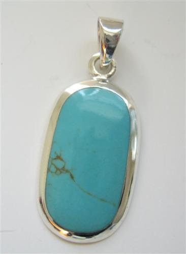 Primary image for Oval Turquoise Inlaid Sterling Oval Pendant