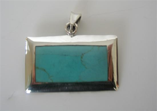 Primary image for Turquoise Green Rectangle Pendant Sterling Silver Pendant