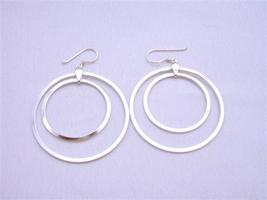 Double Hoop Earrigns Sterling Silver Hoop Earrings Weight 7.9 gms - $19.88