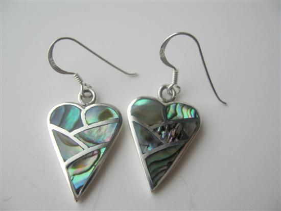 Abalone Inlaid Sterling Silver Inlaid Heart Shell Silver Earrings