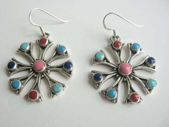 Sterling Silver Flower with Multi Color Earrings