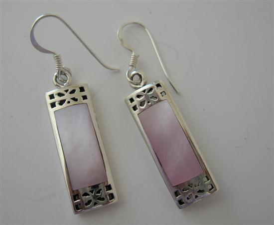 Mother Of Pearl Pink Inlaid Sterling Silver 925 Earrings Genuine Sterl