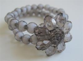 Black Double Stranded Stretchable Bracelet w/ Flower On Top Bracelet - $7.53