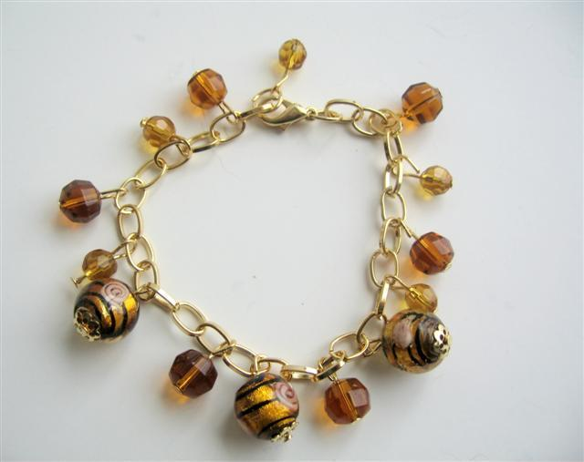 Primary image for Brown Classy Beads Gold Plated Chain Simulated Millefiori Bracelet