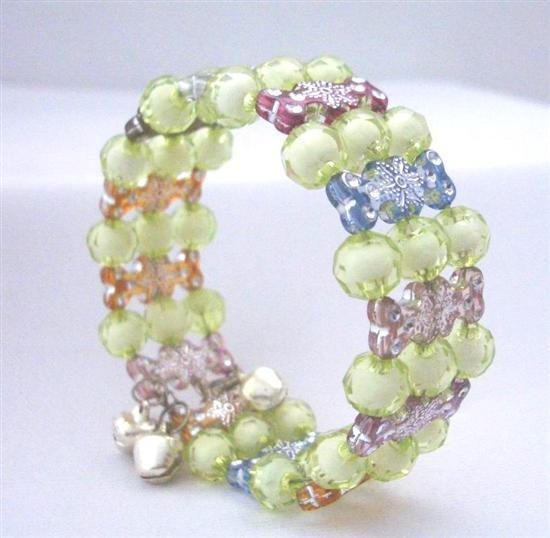 Multi Colors Beaded Bangl132e Cuff Bracelet Stretchable Bracelet