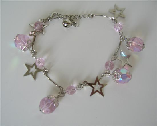 Primary image for Simulated Rose Pink Crystal & Star Dangling Christmas Bracelet