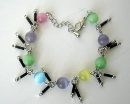 Colorful Simulated Cat Eye Beaded Bracelet Dangling Bracelet 7 Inches - $8.20